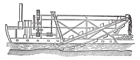 Dredging Ship used for lifting mud and silt from the bottom of rivers harbors and canals, vintage line drawing or engraving illustration.