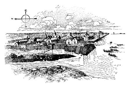 Jamestown  was the first permanent English settlement in the Americas in Virginia,vintage line drawing or engraving illustration.  イラスト・ベクター素材