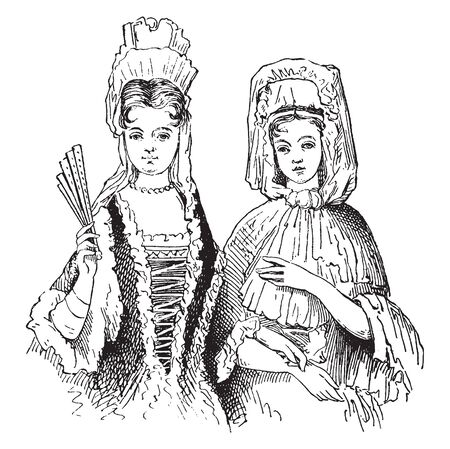 Female Costumes in 18th century which is a bit cheeky with her short skirt the costume comes with dress petticoat pearl necklace and optional white court style wig, vintage line drawing or engraving illustration. Illustration