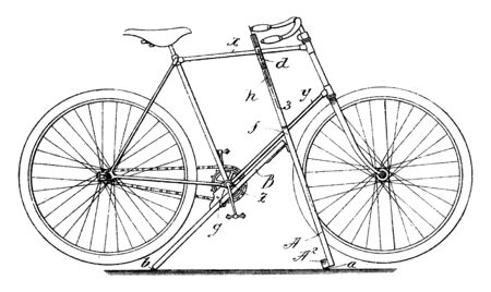 Upright Bicycle Stand features vertically adjustable brace bars which are hinged to an intermediate part of the upright, vintage line drawing or engraving illustration.
