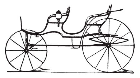Four pass open Phaeton which is modern fashionable carriages and vehicles in general use, vintage line drawing or engraving illustration. Vector Illustration