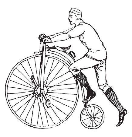 Bicycling is a cycling brand published by Rodale, vintage line drawing or engraving illustration. Illustration