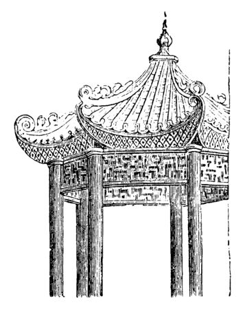 Part of a Chinese Pavilion where roofs are especially characteristic the most striking peculiarity being that they are always curved, vintage line drawing or engraving illustration.
