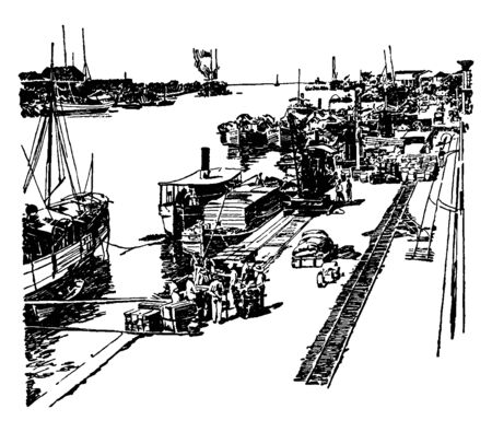 Pasig River is a river in the Philippines that connects Laguna de Bay to Manila Bay, vintage line drawing or engraving illustration. Çizim