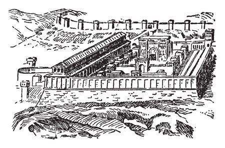 Ancient Jerusalem was any of a series of structures which were located on the Temple Mount in the Old City of Jerusalem, vintage line drawing or engraving illustration. Illusztráció
