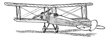 Airplane Rudder and Elevator adjusts the pressure exerted by the horizontal stabilizer for a downward force, vintage line drawing or engraving illustration.