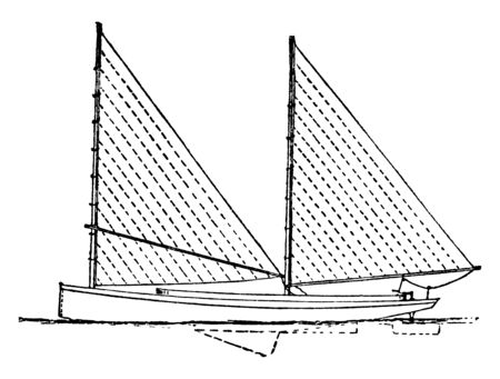 Sharpie is a long narrow sailboat with a flat bottom used for oystering, vintage line drawing or engraving illustration.