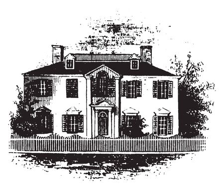 Residence of Benedict Arnold in Water Street,vintage line drawing or engraving illustration Ilustração