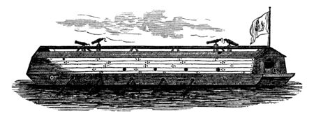 The First American Floating Battery was seen in the Charles River at Boston in October 1775, vintage line drawing or engraving illustration. Ilustração