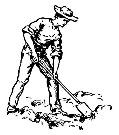 A man digging with shovel, vintage line drawing or engraving illustration