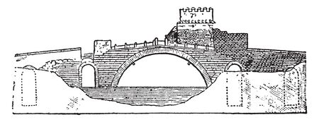 Ponte Salario Bridge is a road bridge in Rome Italy whose origins date back to the Roman period, vintage line drawing or engraving illustration. Illustration