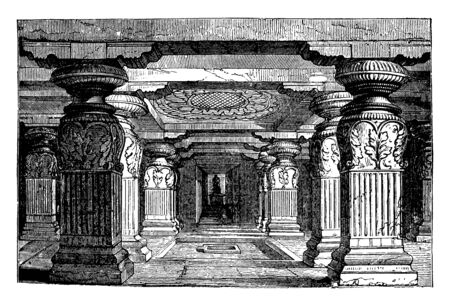 Interior of Indra Sabha at Ellora is a two storeyed shrine with a very fine carving of the lotus flower on the ceiling, vintage line drawing or engraving illustration.