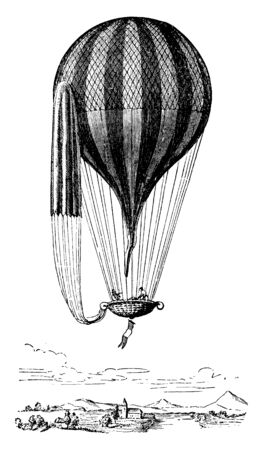 Balloon with Car and Parachute which is sustained by cords attached to a network covering the entire upper half of the balloon, vintage line drawing or engraving illustration.