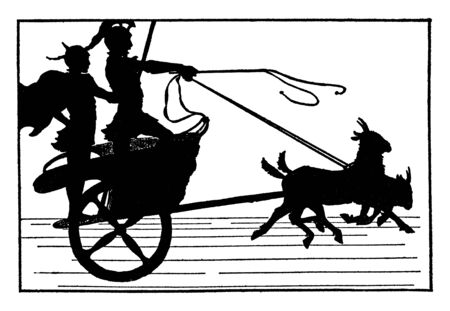 Men in Chariot Pulled by Goats where two men standing in a chariot pulled by two small goats, vintage line drawing or engraving illustration. Иллюстрация