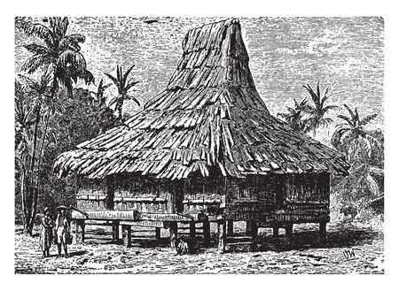 Javanese House where the average home of a native from Java, vintage line drawing or engraving illustration.