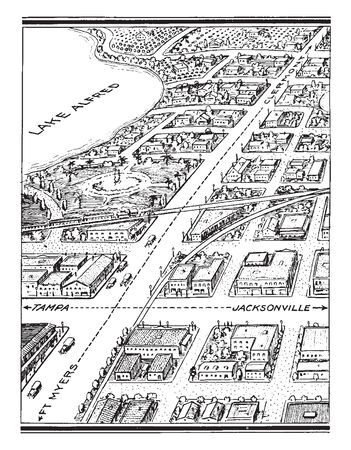 City is a large human settlement and generally have extensive systems for housing transportation sanitation utilities land use and communication, vintage line drawing or engraving illustration. Ilustração