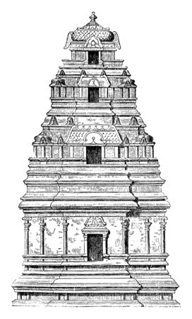 Pagoda which are separated by curved roofs and terminate above of a cupola, vintage line drawing or engraving illustration. Illustration