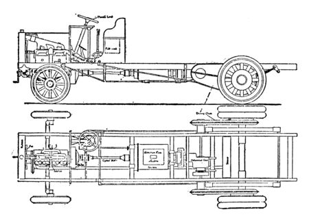 Six Ton Wagon Chassis is with it less weight below the springs than with any other form of final drive, vintage line drawing or engraving illustration.  イラスト・ベクター素材