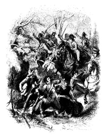 Battle between a Continental Army force led by Abraham Buford and a mainly Loyalist force led by British officer Banastre Tarleton.,vintage line drawing or engraving illustration.