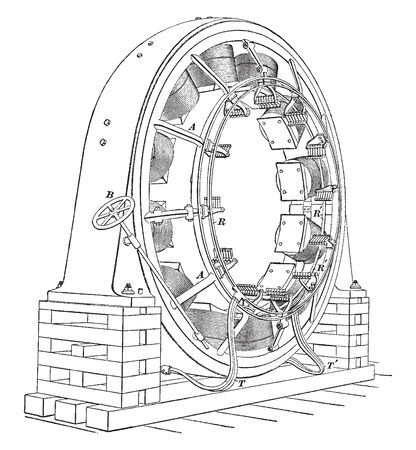 Direct connected generator also known as a dynamo which are almost entirely used for railways, vintage line drawing or engraving illustration.