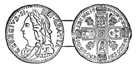 This image represents Coin of George II, vintage line drawing or engraving illustration.
