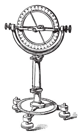 Dipping Compass is a verticle graduated circle whose center coincides with the axis of the needle, vintage line drawing or engraving illustration. Çizim