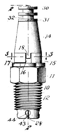 Spark Plug is electrical device that fits into the cylinder head of an internal combustion engine and ignites the gas by means of an electric spark, vintage line drawing or engraving illustration.