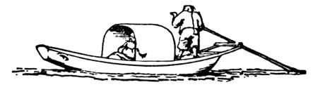 Sampan is a Chinese boat made from three planks one flat bottom and two sides, vintage line drawing or engraving illustration. Illustration