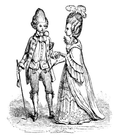 Macaroni and Lady was a fashionable fellow who dressed and even spoke in an outlandishly affected and epicene manner, vintage line drawing or engraving illustration.