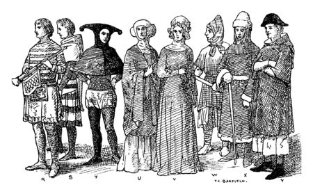 This illustration represents England Fourteenth Century Middle Ages Fashion, vintage line drawing or engraving illustration. 向量圖像
