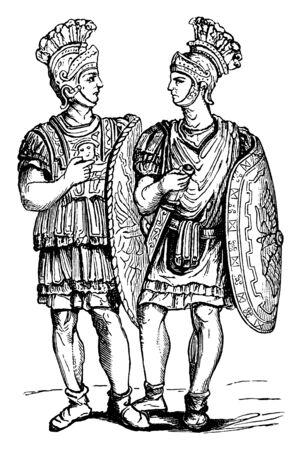Two men with swords, vintage line drawing or engraving illustration