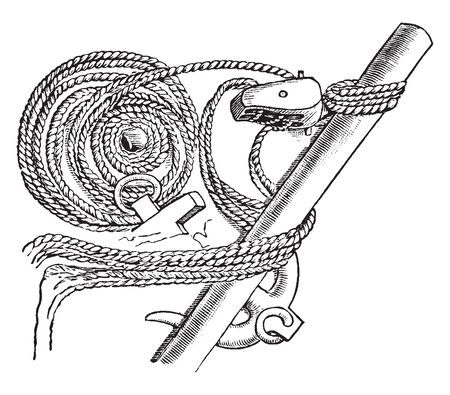 Anchor and Tackle used to raise and lower it, vintage line drawing or engraving illustration.