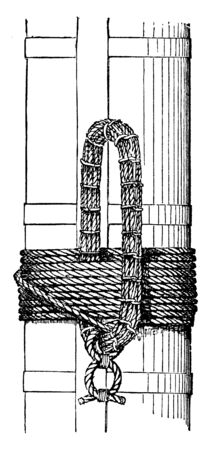 Nautical Garland is a large rope strap or grommet lashed to a spar when hoisting it on board, vintage line drawing or engraving illustration.
