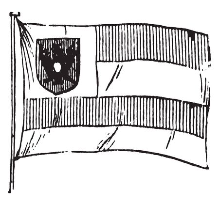 Flag of Frankfort which is a whiteflagwith a city seal in the center and in the upper hoist, vintage line drawing or engraving illustration. Illusztráció