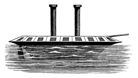 Gregg Ironclad is given the credit of the first definite proposition for an ironclad vessel in 1813, vintage line drawing or engraving illustration. 向量圖像