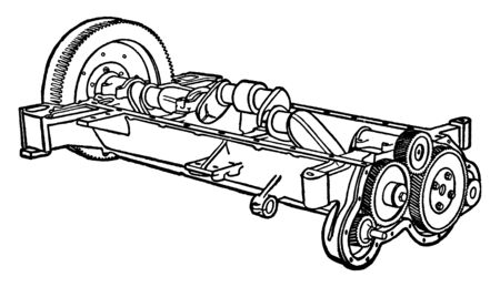 Building an Automobile Step 04 is Cogwheels are for running the fan the pump and other parts, vintage line drawing or engraving illustration.