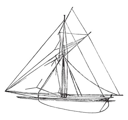 English Cutter have been used for record breaking attempts and crews have achieved record times for sculling the English Channel in 1996, vintage line drawing or engraving illustration. 일러스트