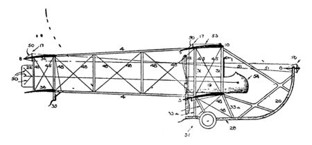 Pusher Aeroplane Plan is located behind the cockpit to push the plane while flying, vintage line drawing or engraving illustration.