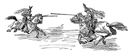 Tilting Match at each others in a pen set in the tiled hall of a palace, vintage line drawing or engraving illustration.