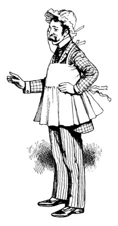 A man wearing apron and bonnet, vintage line drawing or engraving illustration Illustration