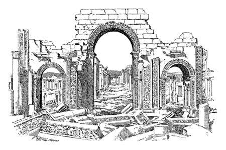 Rovine di Palmyra che è un'antica città situata nel cuore del deserto siriano, disegno dell'annata o illustrazione incisione.