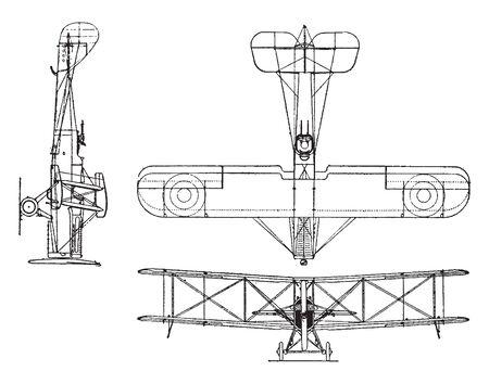 De Haviland 4 Reconnaissance Plane has a 400 horsepower Liberty Engine, vintage line drawing or engraving illustration.