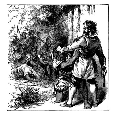 The meeting between Capt. John Smith and Powhatan,vintage line drawing or engraving illustration. Иллюстрация