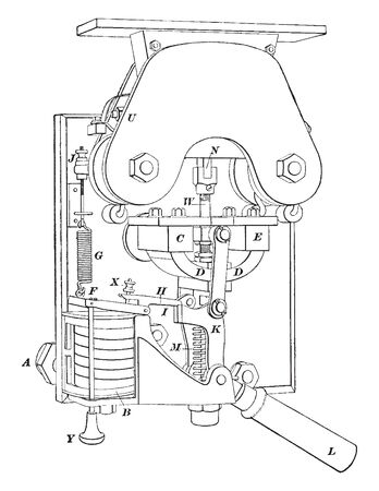 Circuit Breaker like the ones found on a railway switchboard which is used to switch the circuit of in a magnetic field on and off, vintage line drawing or engraving illustration. Illustration
