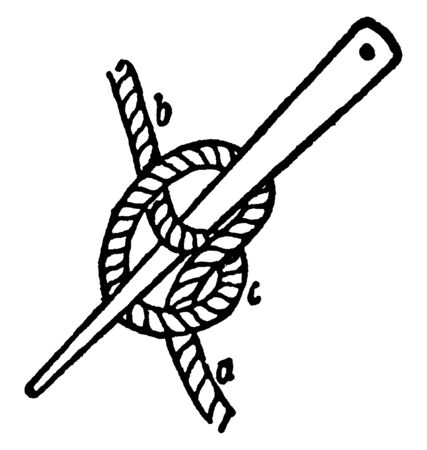 Marling spike Hitch which is used for tightening each turn of a seizing, vintage line drawing or engraving illustration.