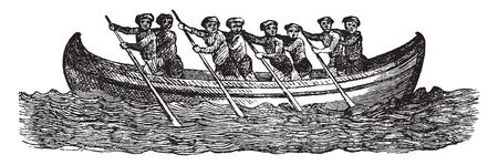 Boat is a watercraft of a large range of sizes designed to float, vintage line drawing or engraving illustration. 向量圖像