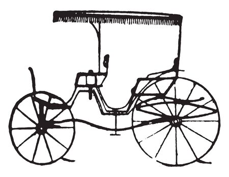 Canopy Toy Phaeton which is late styles of fashionable carriages and sleighs, vintage line drawing or engraving illustration.