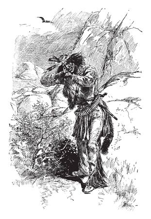 A warrior with gun from the Apache tribe, vintage line drawing or engraving illustration Çizim
