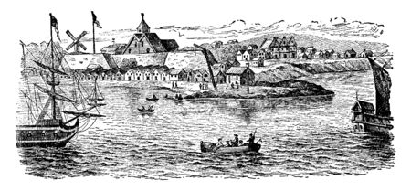 Dutch colony in New Amsterdam,vintage line drawing or engraving illustration.