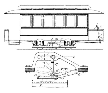 Emergency Rail Brake is the generic term for the maximum available braking force that a train crew can apply, vintage line drawing or engraving illustration.  イラスト・ベクター素材